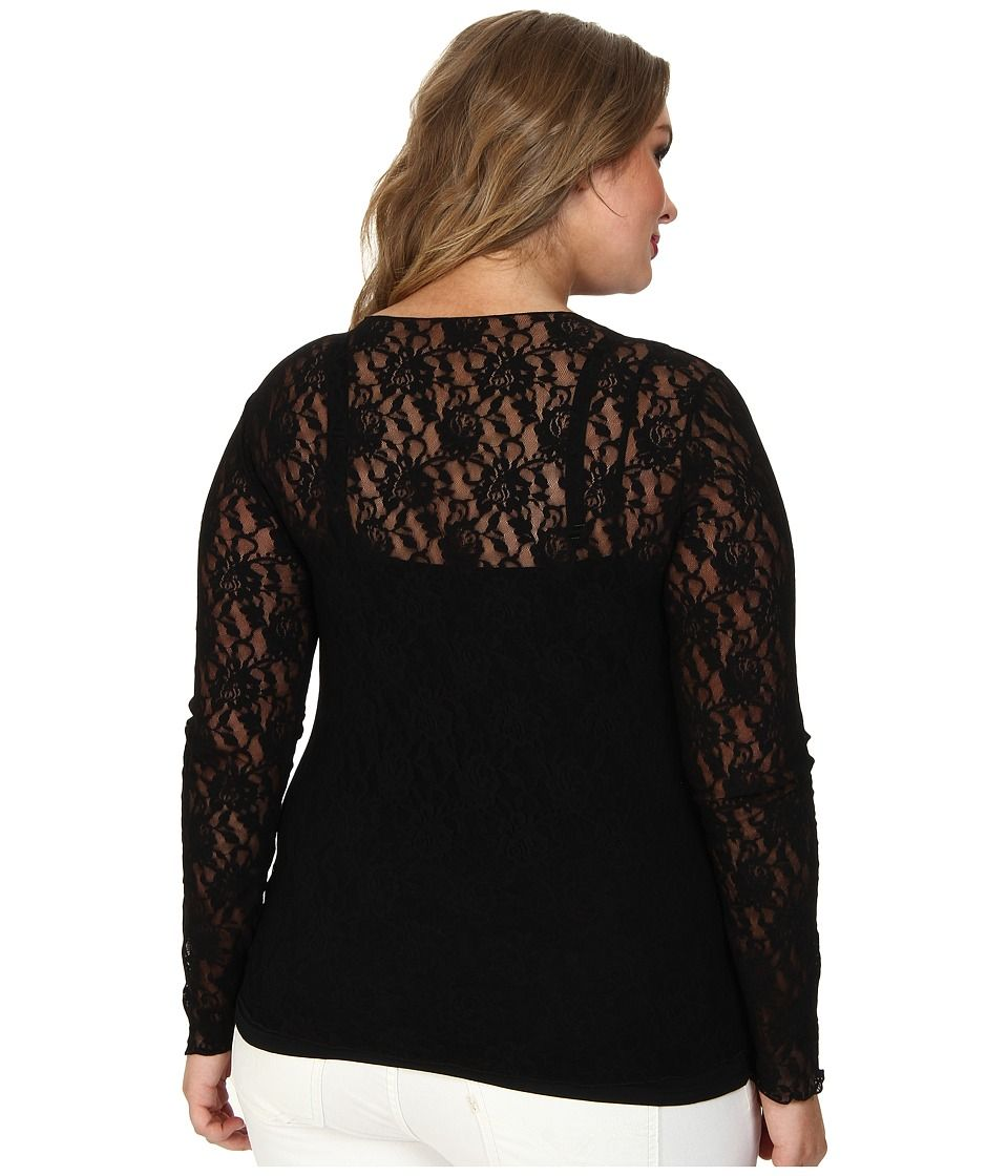 aebd0bf378ca17 Hanky Panky Plus Size Signature Lace Unlined Long Sleeve Top Women's  Underwear Black
