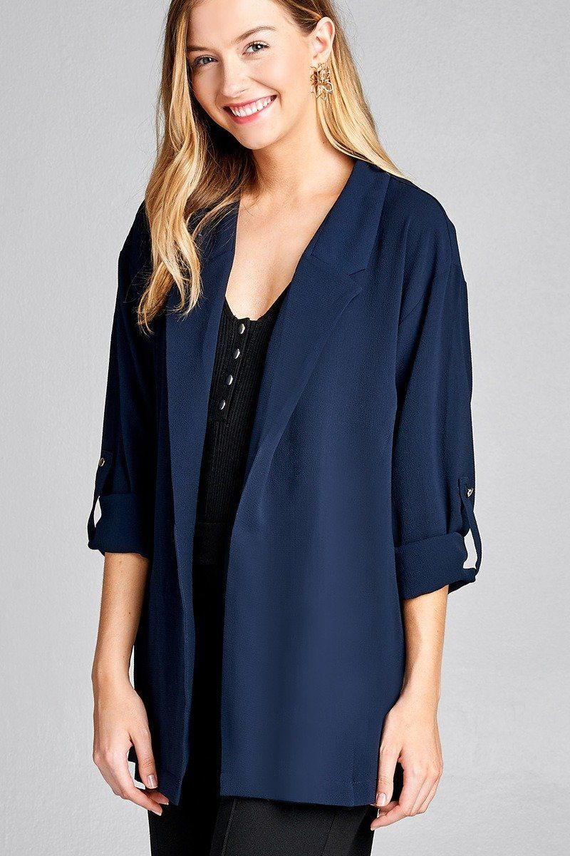 34 roll up sleeve open front woven jacket woven jacket