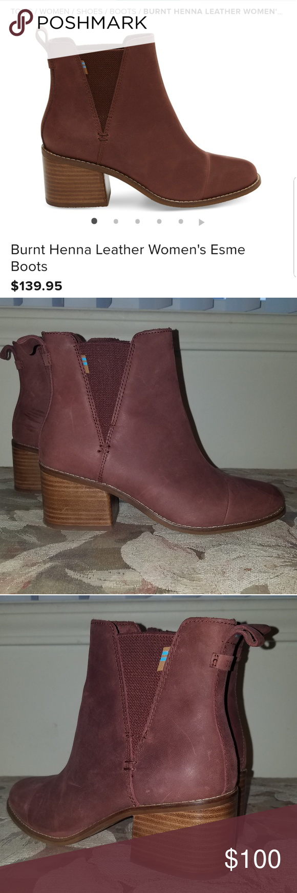 7a0fab643e607 Tom s Burnt Henna Leather Esme boots Super cute! Only worn once. Perfect  condition. Size 7.5 Toms Shoes Ankle Boots   Booties