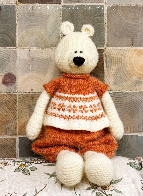 Knitting Pattern Toy Knitted Teddy Bear Pattern Knit Animal Pattern