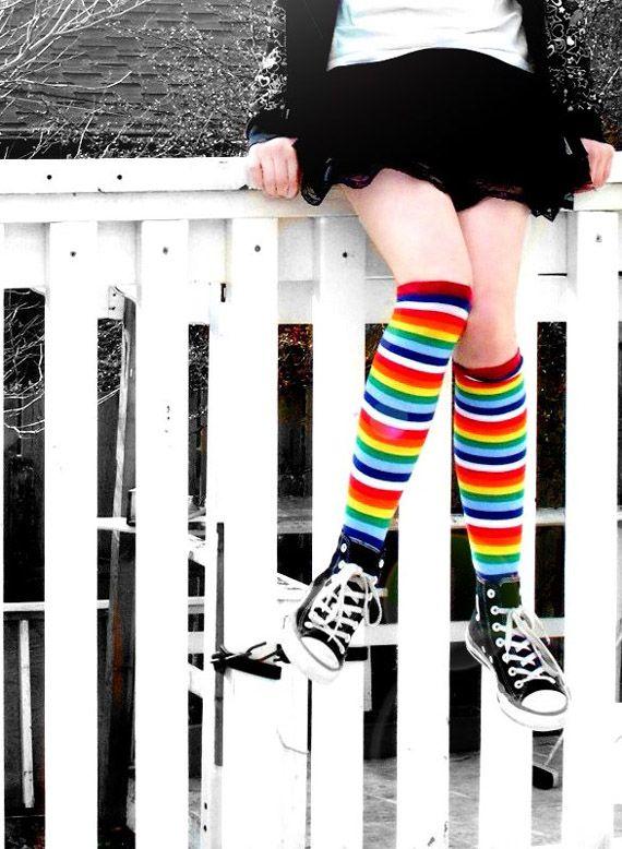 de1f4ed0a Rainbow Knee Socks ~ I had them when I was a teen. They were also toe-socks.  I sure miss those socks!