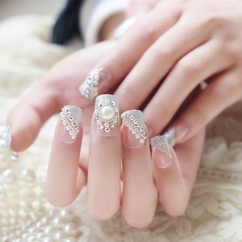 Bridal prom pageant dance fake nails faux white beaded vintage bridal prom pageant dance fake nails faux white beaded vintage style fake nails solutioingenieria Choice Image