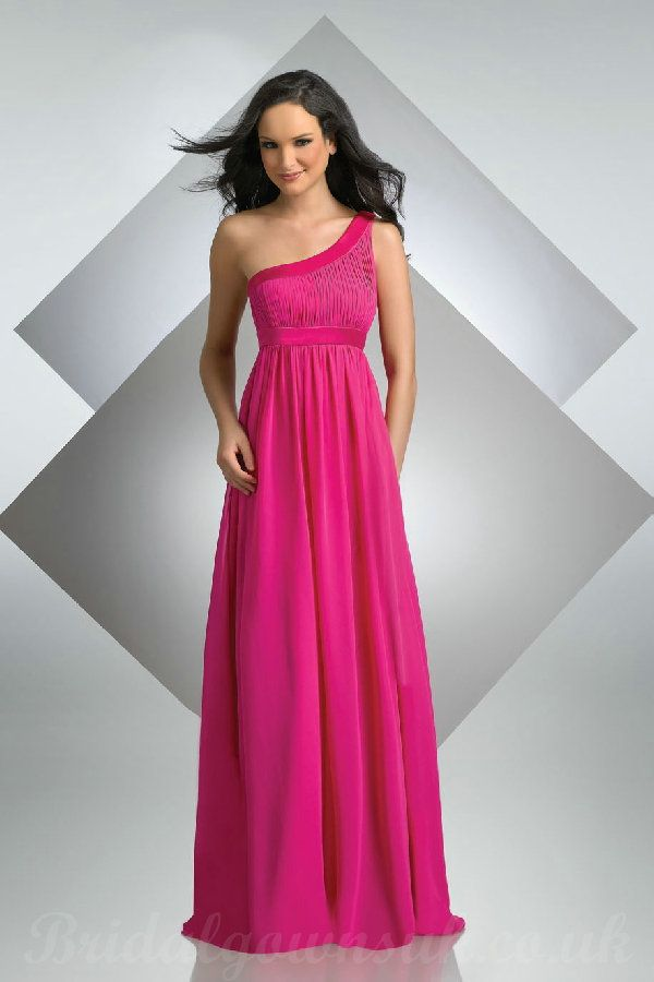 Pink Bridesmaid Dresses One Shoulder Chiffon Hot Long Style Designer