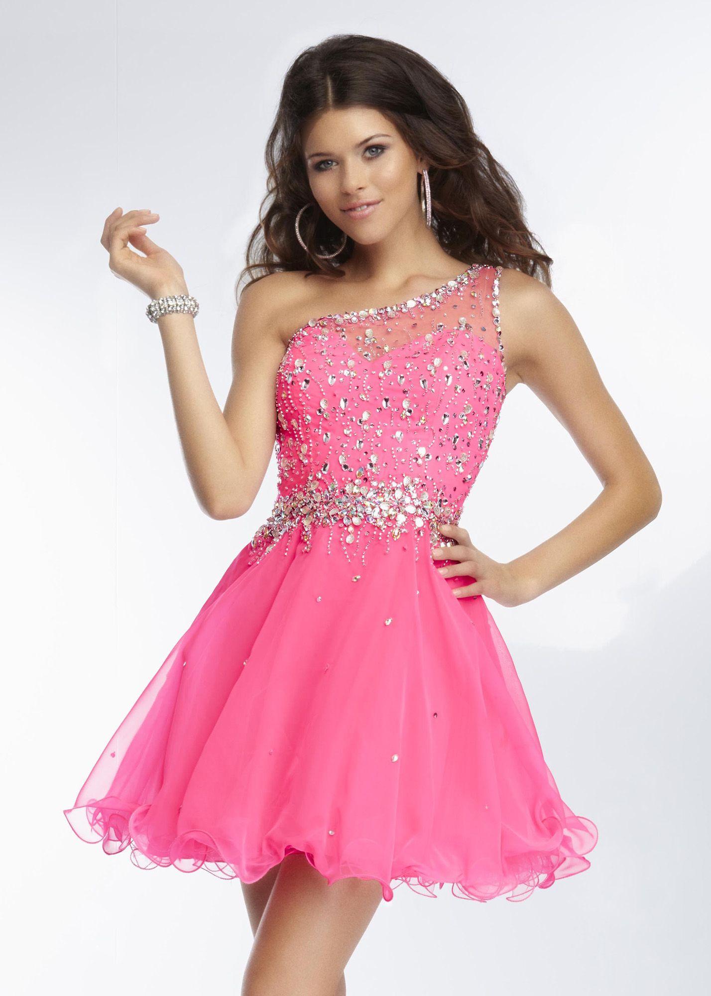 Mori Lee 9262 - Neon Pink Beaded One Shoulder Prom Dresses Online ...
