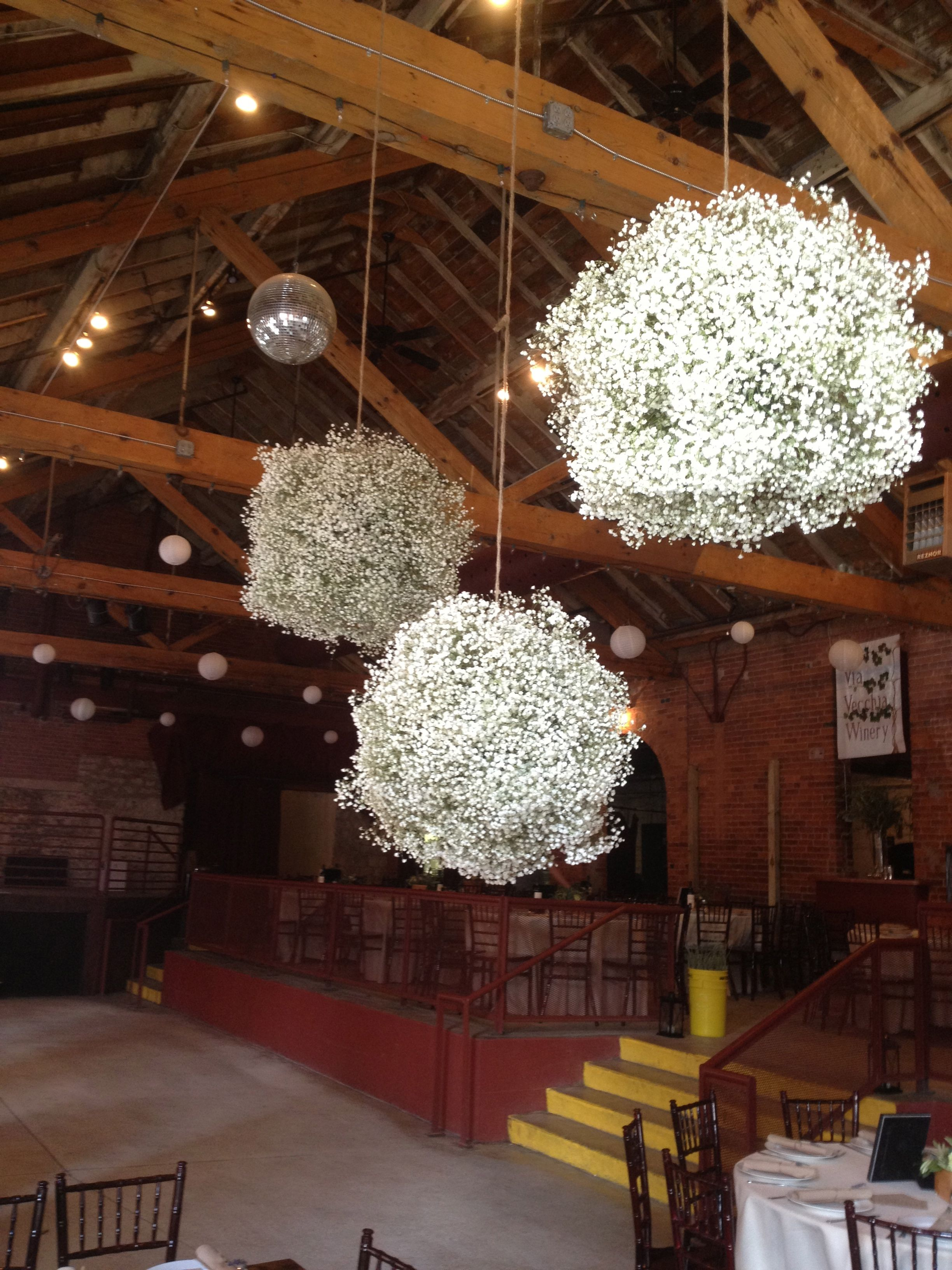 Baby Breath Balls I Would Love These Hanging Off Of The Blue Oak Tree We Are Ge Light Blue Wedding Decorations Blue Wedding Decorations Branches Wedding Decor