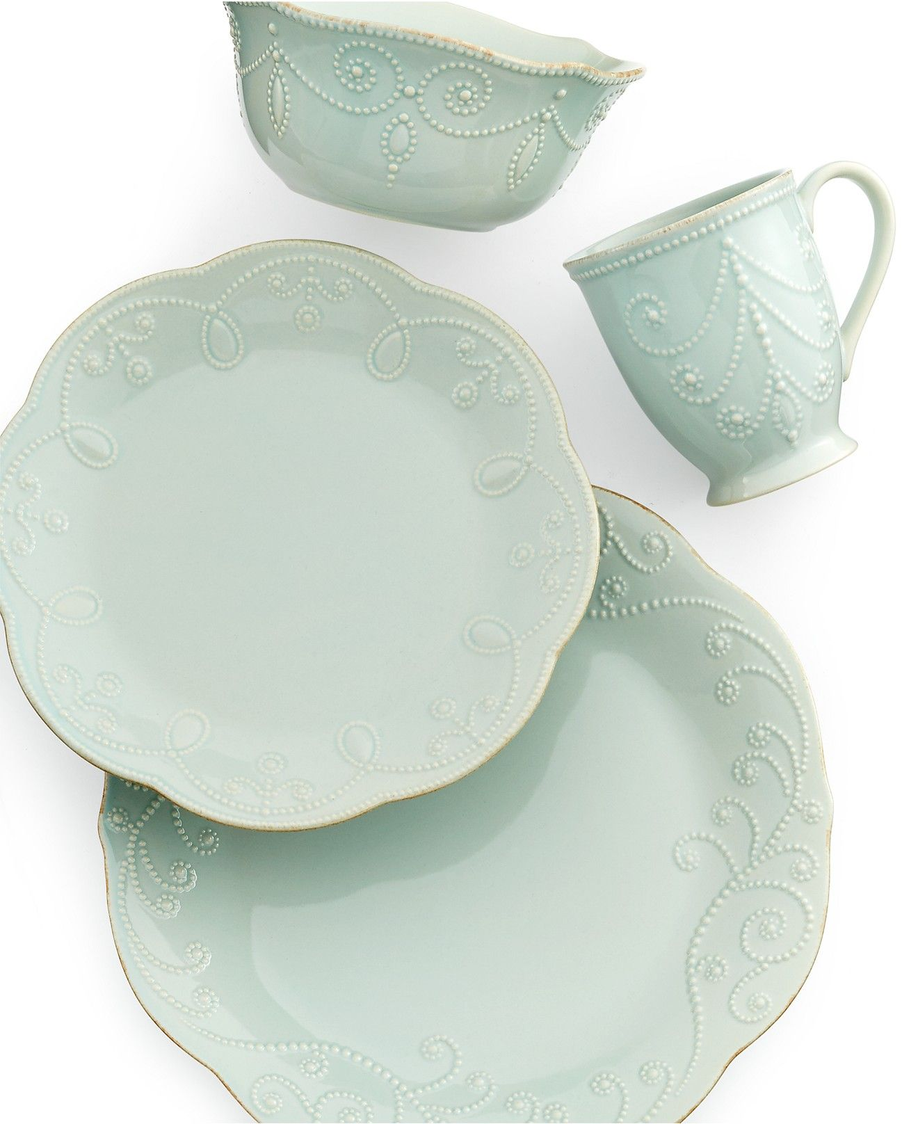 Lenox Dinnerware, French Perle Ice Blue Collection - Dinnerware - Dining & Entertaining - Macy's