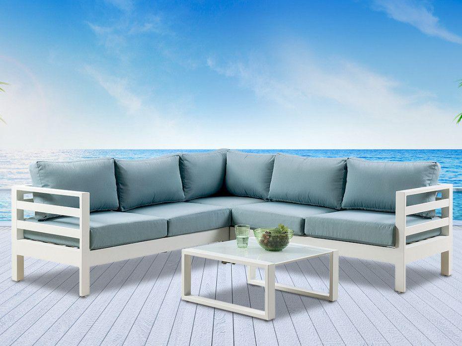 Salon De Jardin Sulawesi En Aluminium Blanc Et Coussins Bleu Ciel