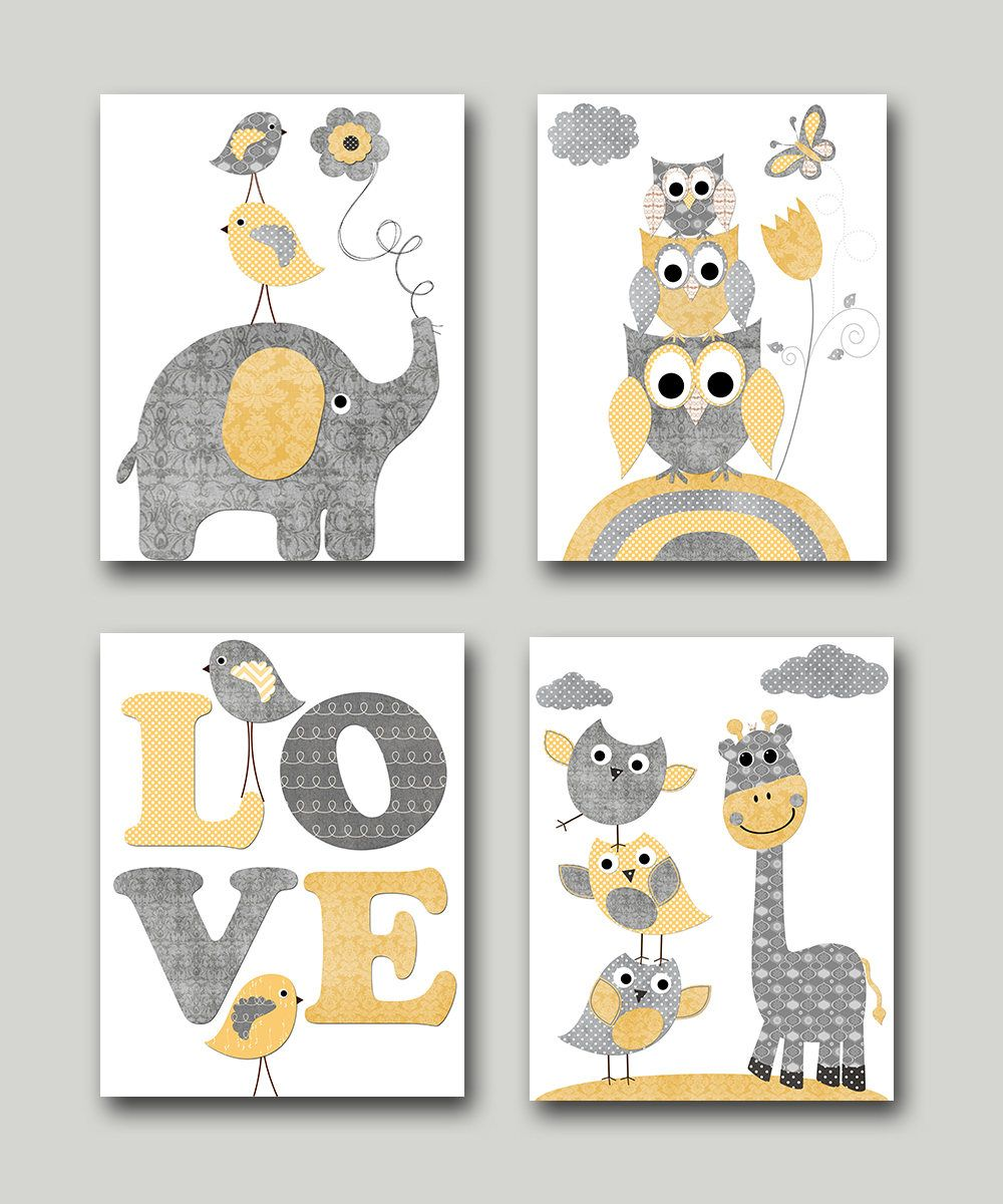 Yellow Grey Baby Boy Neutral Nursery Canvas Elephant Nursery Etsy Nursery Art Boy Nursery Canvas Baby Boy Nursery Art