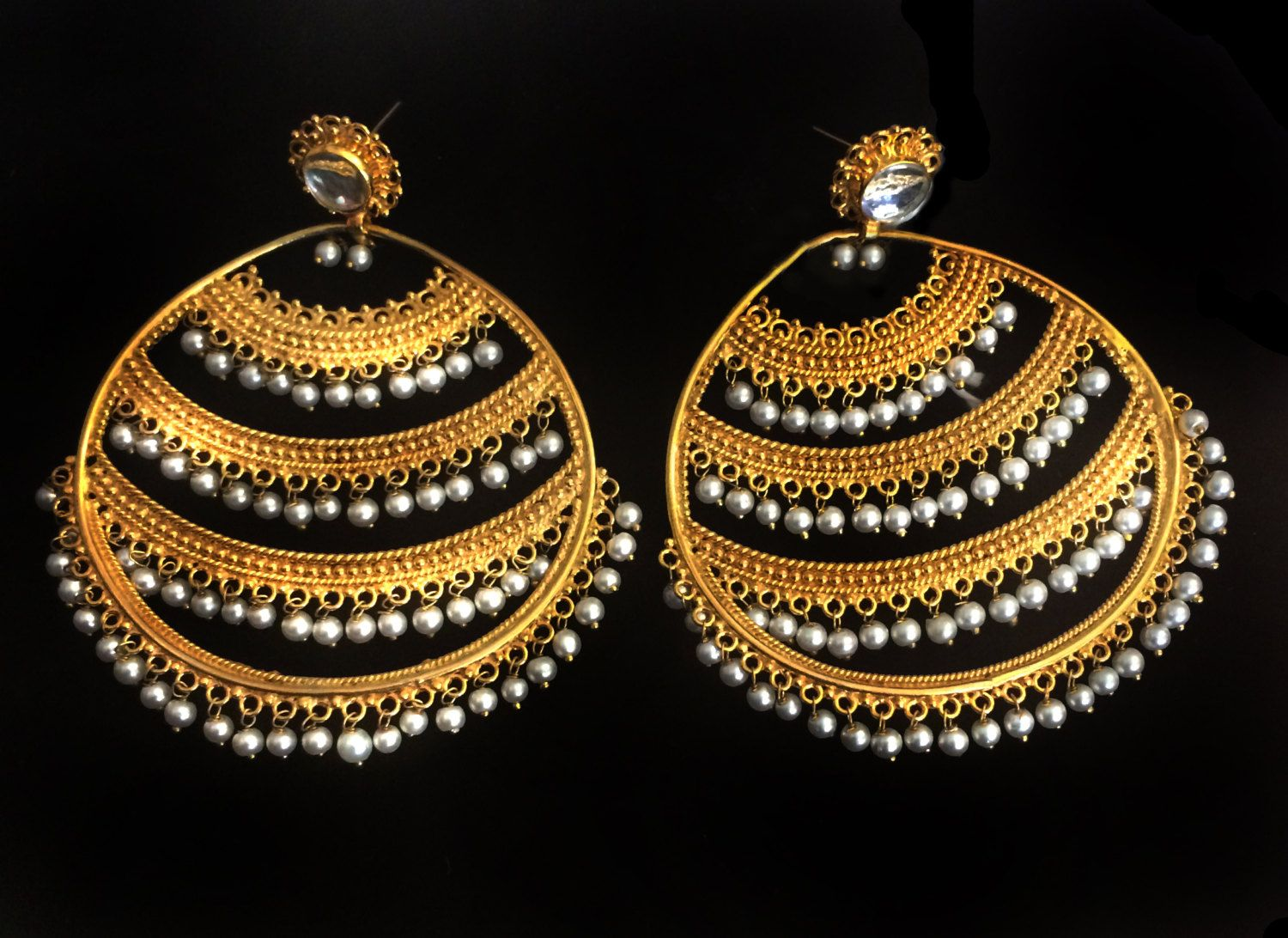 Bridal Earrings, Gold plated Earrings with white beads, Royal Mughal ...
