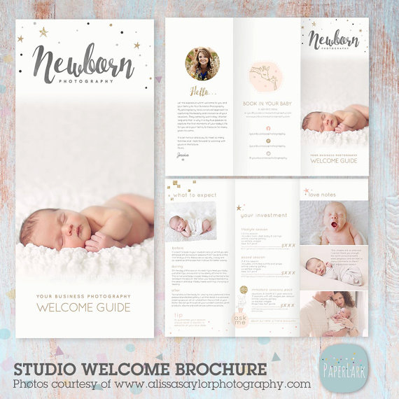 Newborn Trifold Brochure Flyer Photography Guide Dl Size Sell
