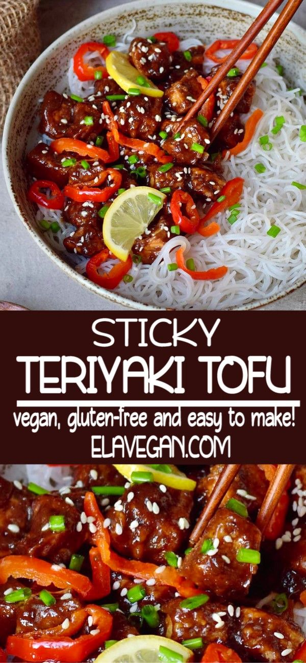 Crispy, salty, sweet and sour sticky Teriyaki Tofu with flavorful ingredients. This comforting Asian weeknight dinner is very tasty and much healthier than take-out! The recipe is vegan, gluten-free, low-fat, and easy to make. #teriyakitofu #stickytofu #crispytofu #elasrecipes | elavegan.com