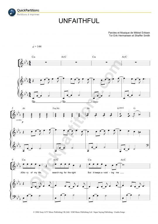 Partition Piano Unfaithful Rihanna Guitar Pinterest Piano