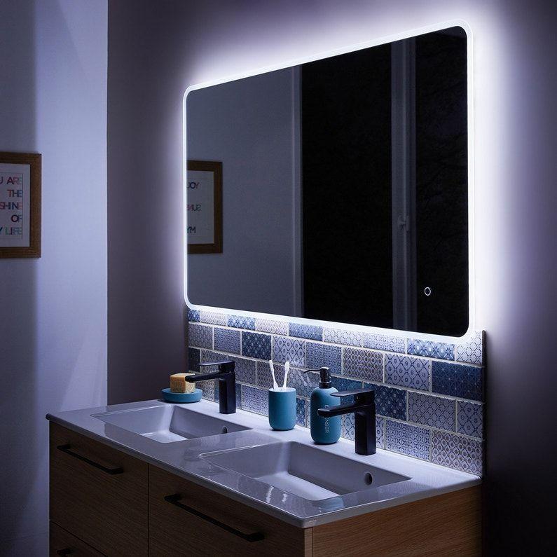 Miroir Lumineux Avec Eclairage Integre L 120 X H 70 Cm Renzo Leroy Merlin Miroir Lumineux Maison Miroir