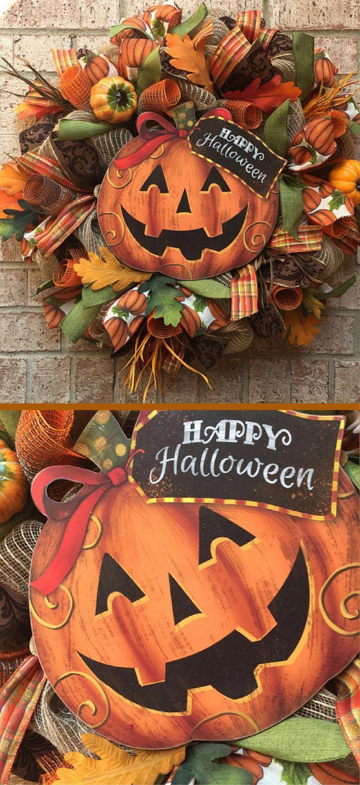 Halloween Wreath, Fall Wreath, Pumpkin Wreath Front Door Decor - halloween front door decor