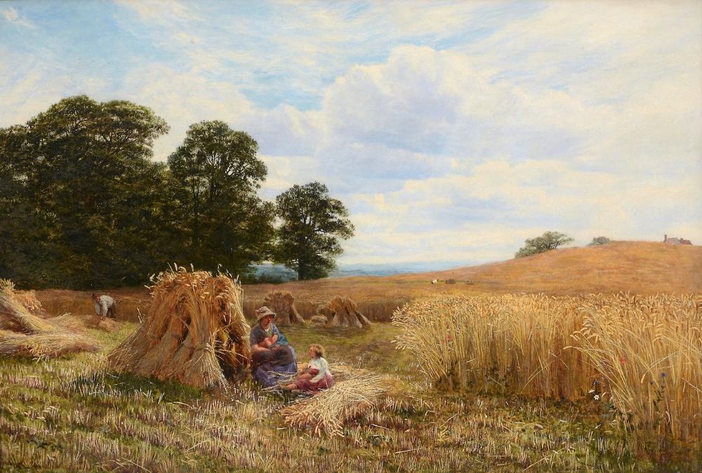 A Hayfield with Figures Vicat Cole Landscape