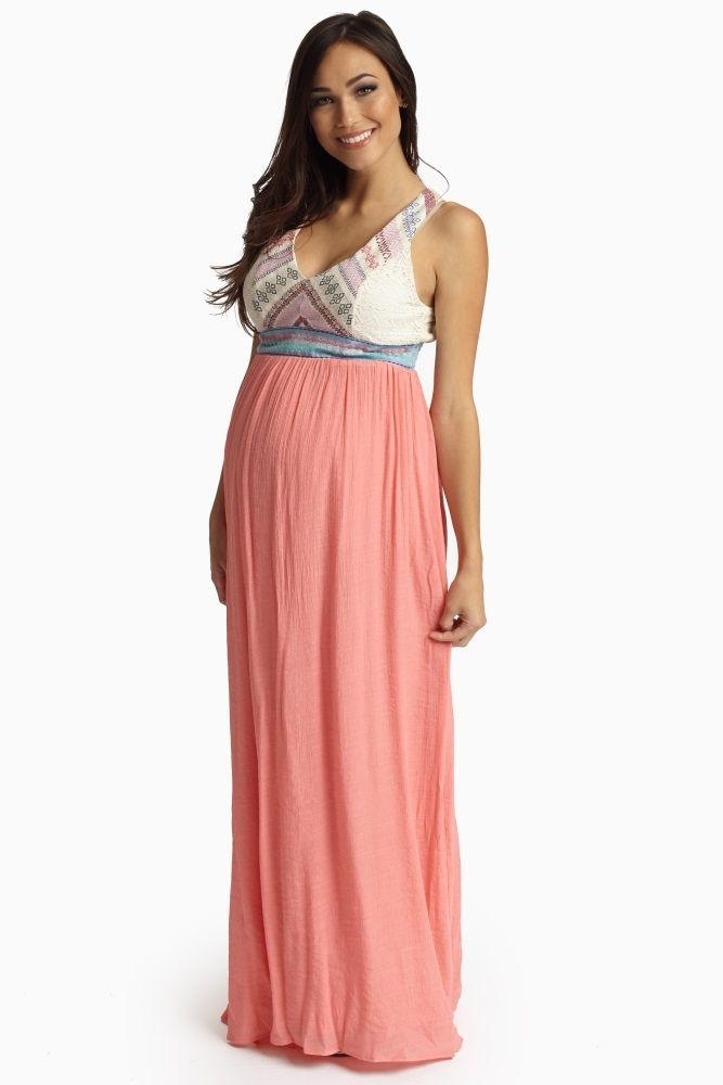 8e7f136821 Coral Printed Lace Accent Top Linen Maternity Maxi Dress | му ℓσνєℓу ...