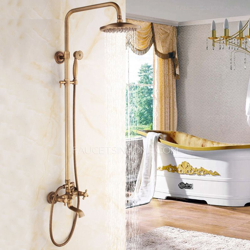 Classical Brass Vintage Cross Handle Exposed Shower Faucets | The ...