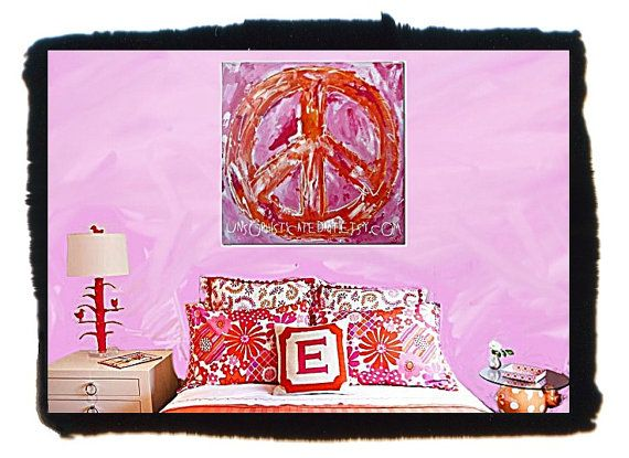 Peace Sign Bedroom Accessories: Pink Orange Groovy Peace Sign Painting- In A Little More