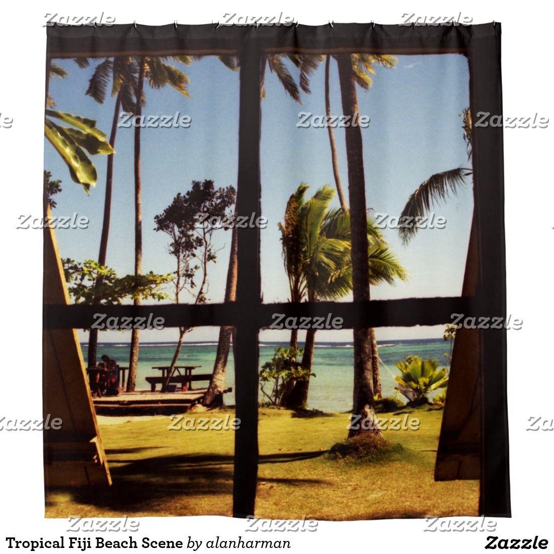 Tropical Fiji Beach Scene Shower Curtain | salon signs | Pinterest ...