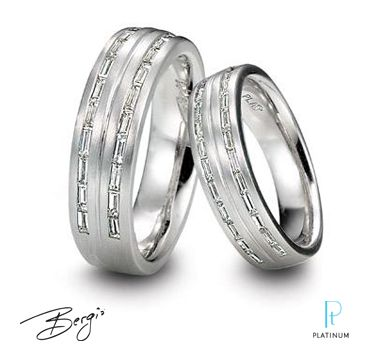 Bergio Men S And Women S Platinum Wedding Bands With Baguette Diamonds Wedding Rings For Women Love Ring Ring Earrings