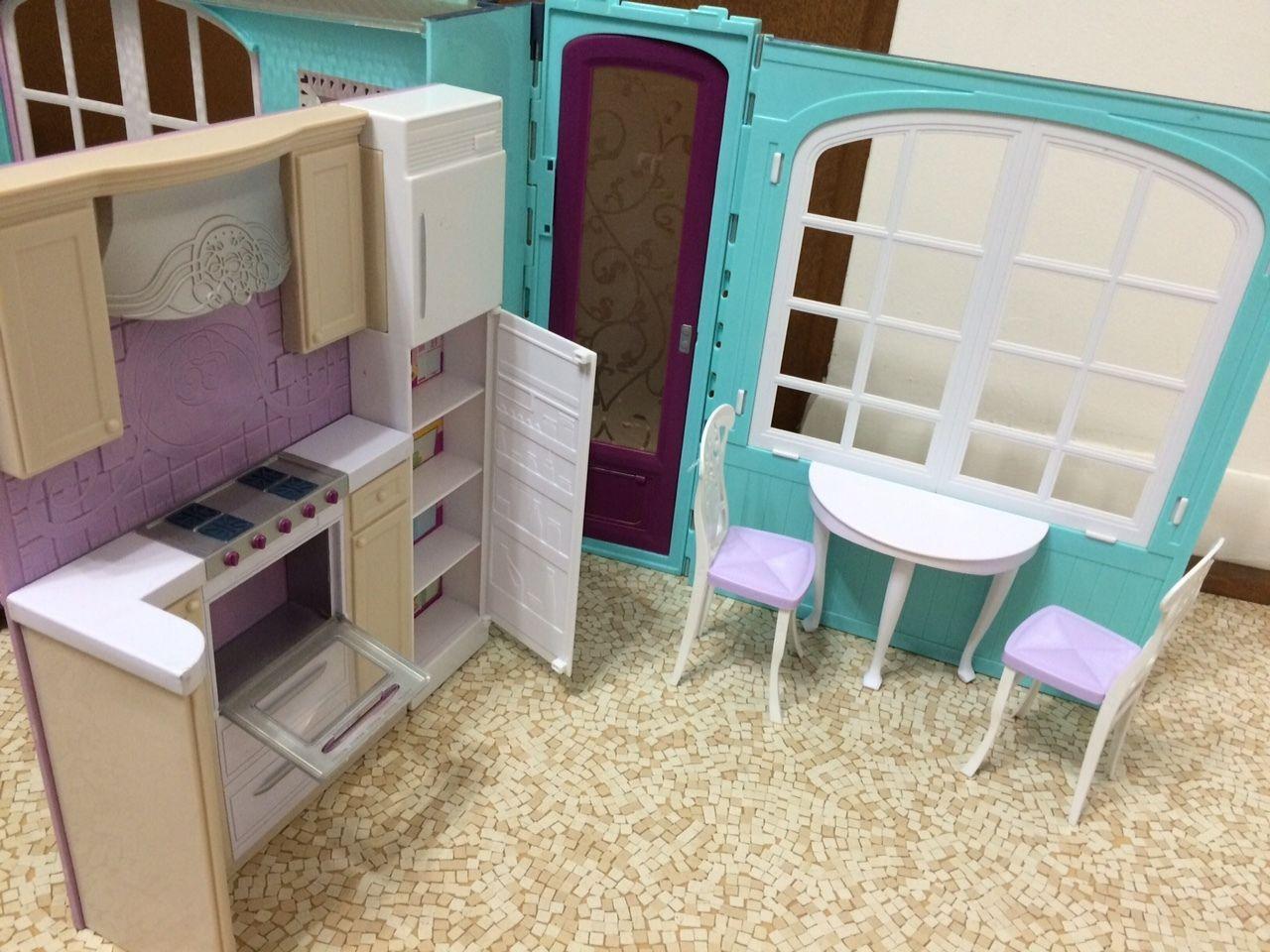Barbie Kitchen Furniture 2007 Barbie Doll My House Playset Fold Up Dollhouse Kitchen