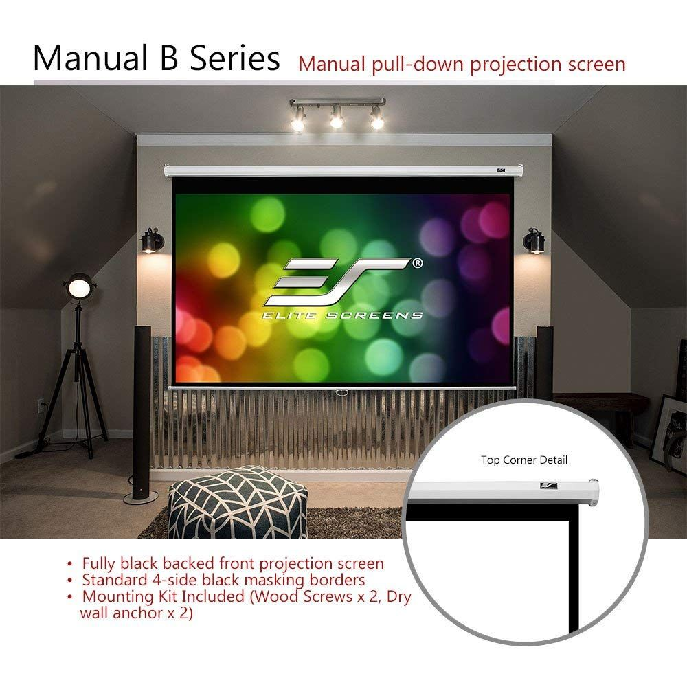 Amazon Com Elite Screens Manual B 100 Inch 16 9 Manual Pull Down Projector Screen 4k 8k Ultr Pull Down Projector Screen Projector Screen Projection Screen