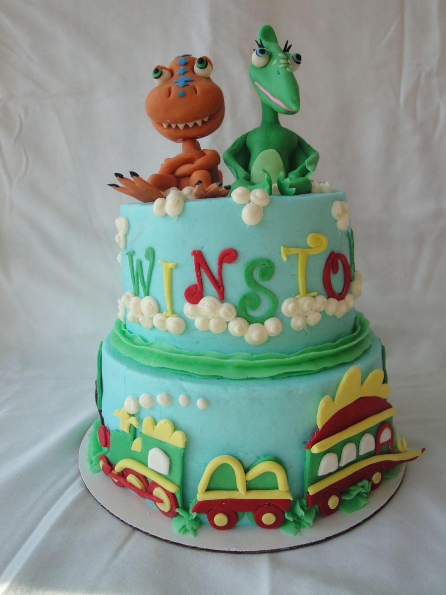 Dinosaur Train Cake Iced In Ercream Buddy And Tiny Are Made Of Marzipan The