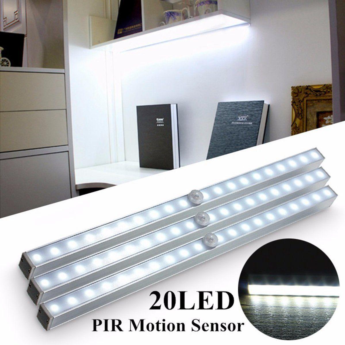 Cabinet Closet Light Wireless PIR LED Light Bar Motion Sensor Night Light Room