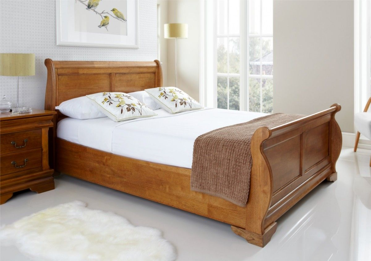- Louie Wooden Sleigh Bed - Oak Finish Wooden Sleigh Bed, Wood