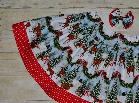 Christmas Skirt Set, Twirl Skirt, Toddler Skirt, Christmas Clothing, Holiday Skirt, Reindeer Skirt, #twirlskirt