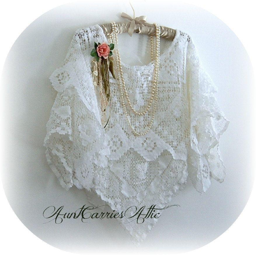 White Lace Shawl Upcycled Hospital Bed Jacket Vintage ...