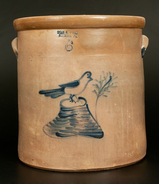 "Rare Six-Gallon Stoneware Crock with Cobalt Bird on Stump Decoration, Stamped ""EVAN R. JONES / PITTSTON, PA,"" circa 1875"