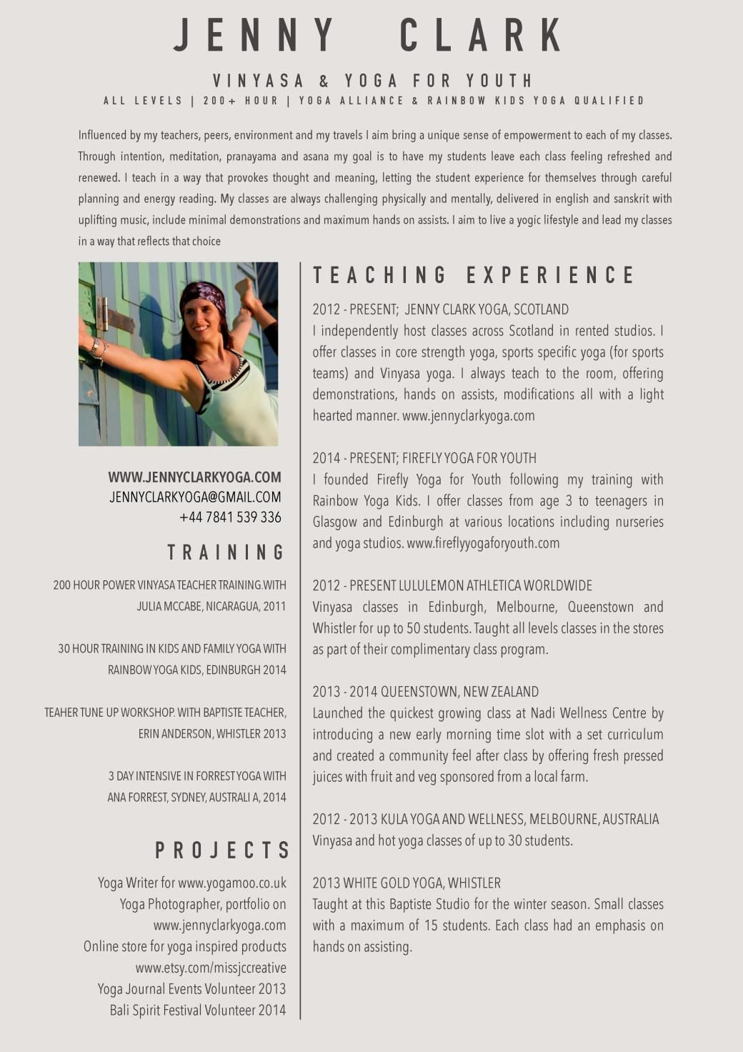 YOGA RESUME  Namaste  Teaching resume Yoga Yoga teacher training