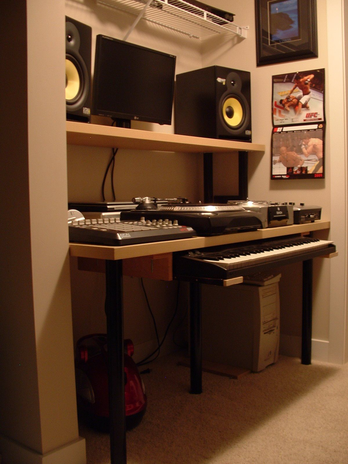music room keyboard shelves Google Search Desk space