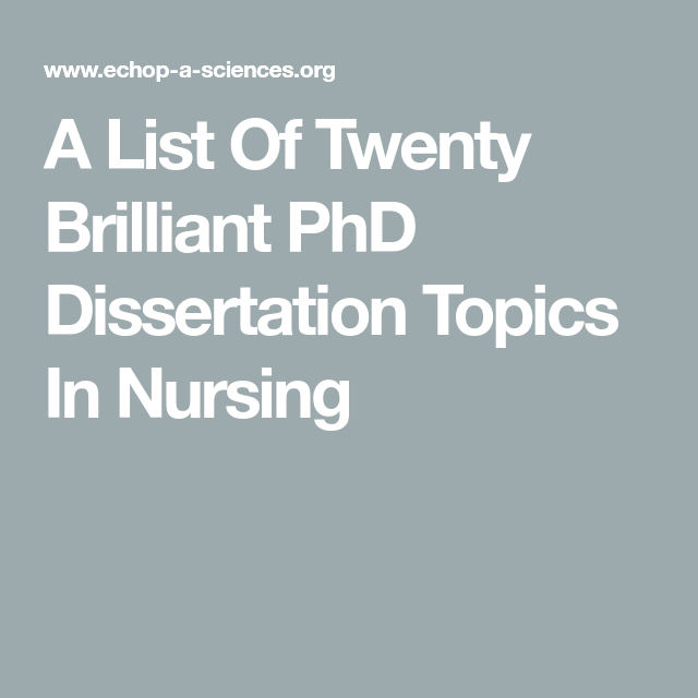 Doctoral thesis nursing