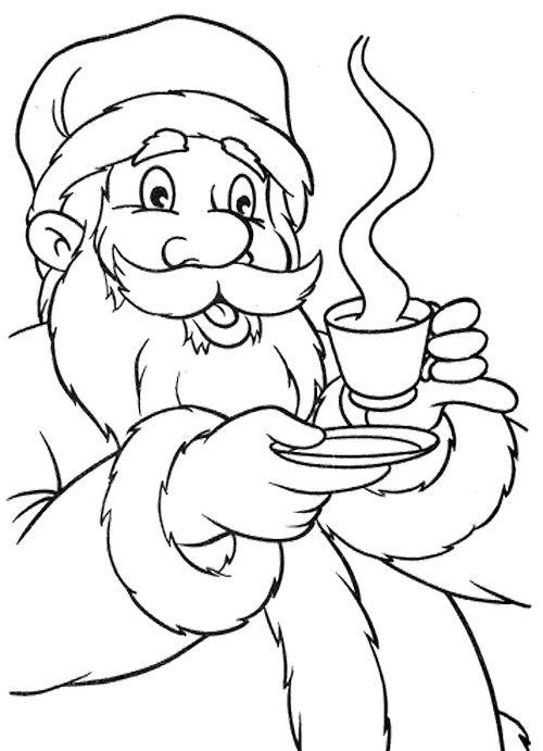 santa claus drink hot chocolate coloring page