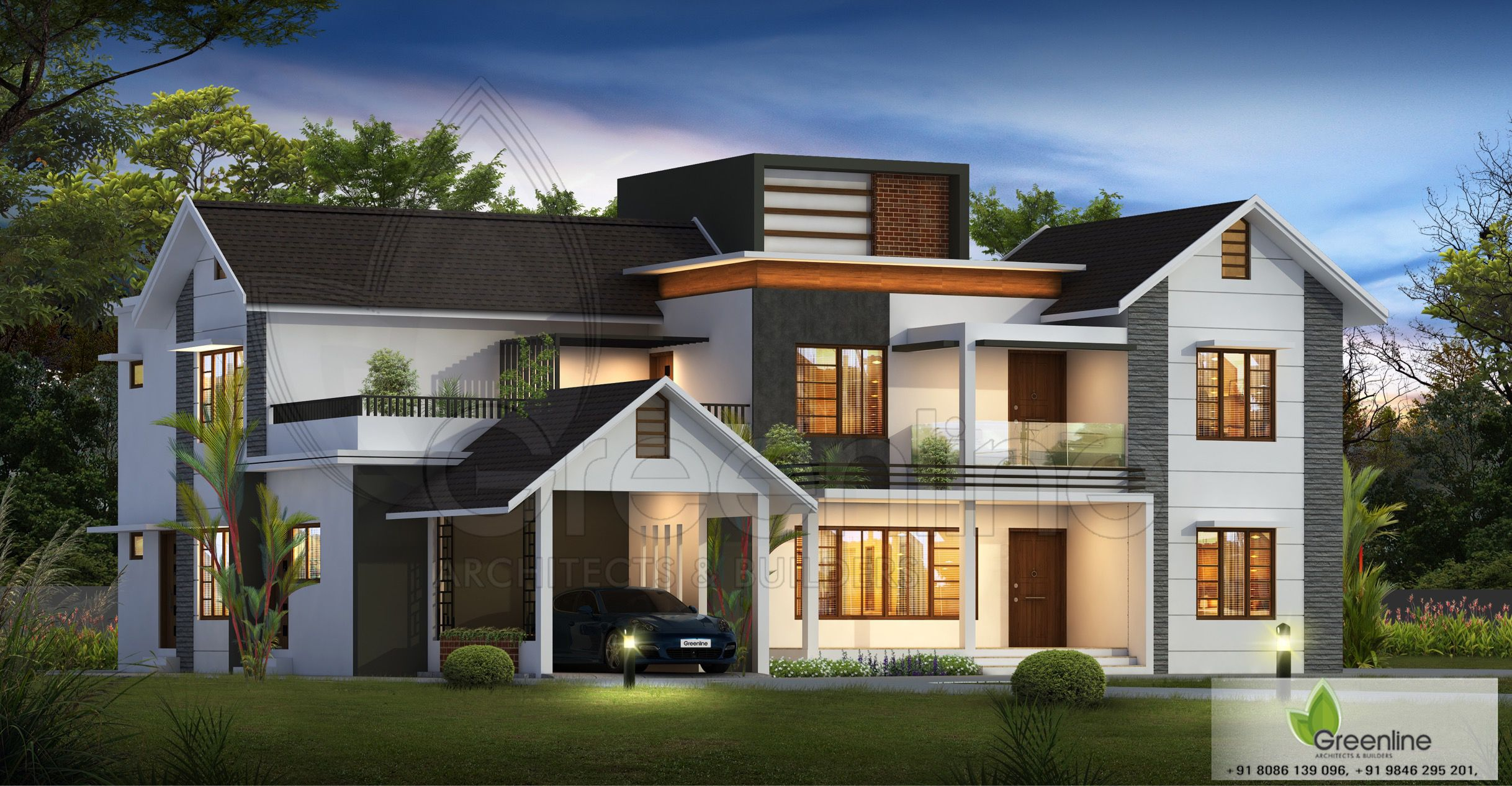 Mixed Roof Design In 2020 Kerala House Design Duplex House Design Eco House Design