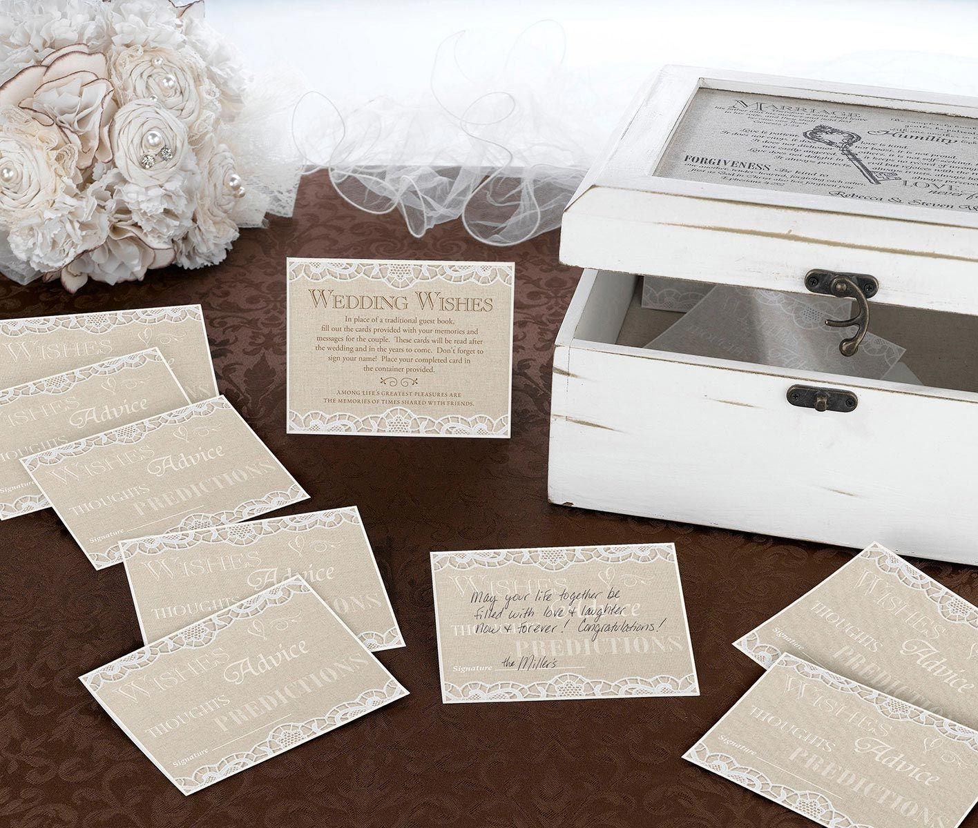 Guest Book Alternative Lace Wedding Advice Cards Guestbook