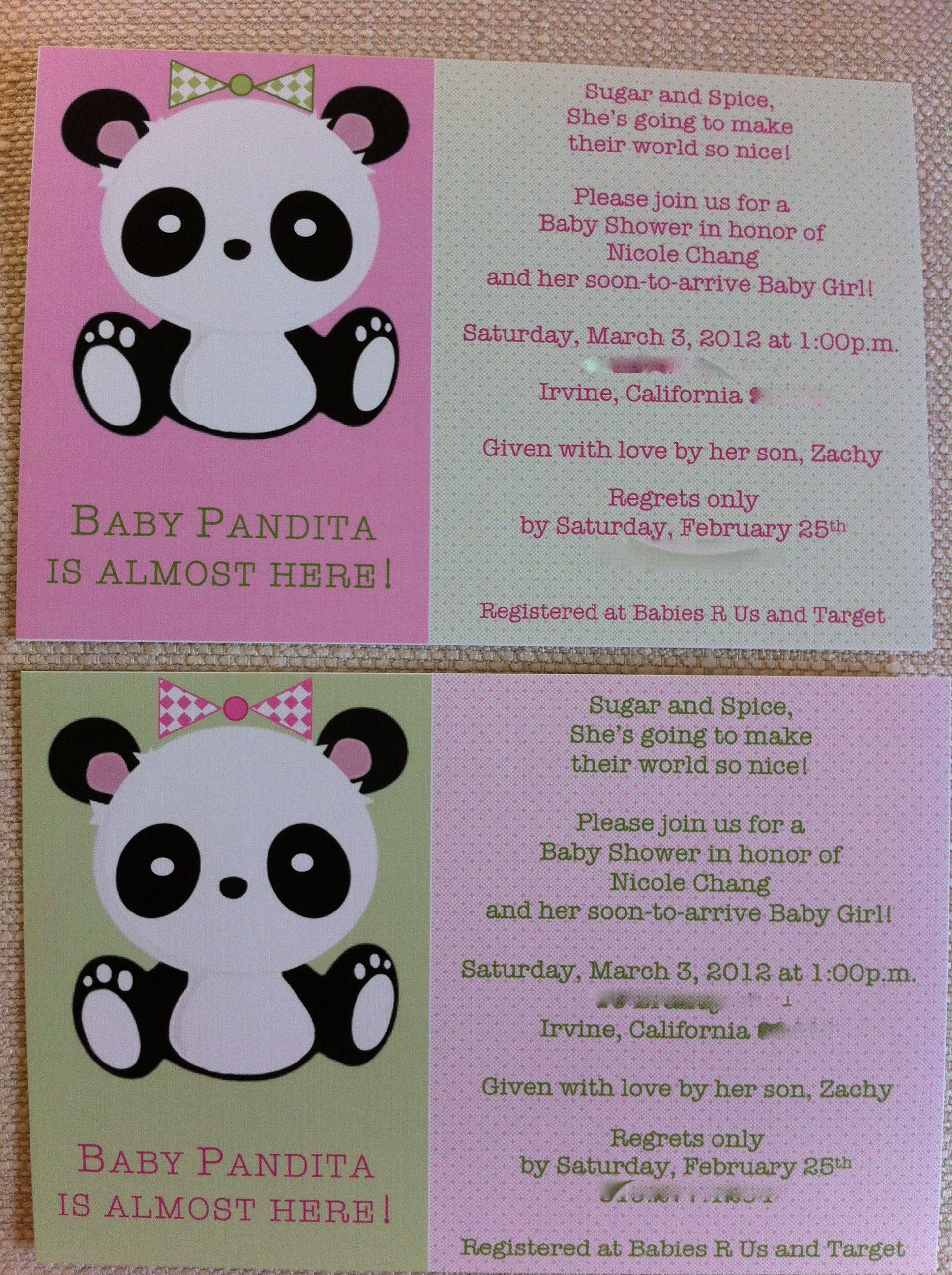 Panda Baby Shower Invites