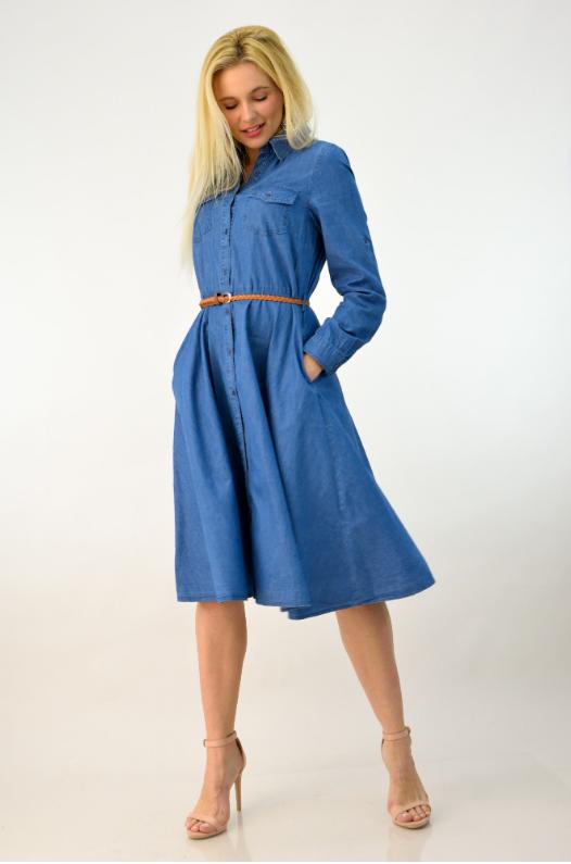 04dbd2924792 Γυναικείο midi φόρεμα τζιν με ζώνη