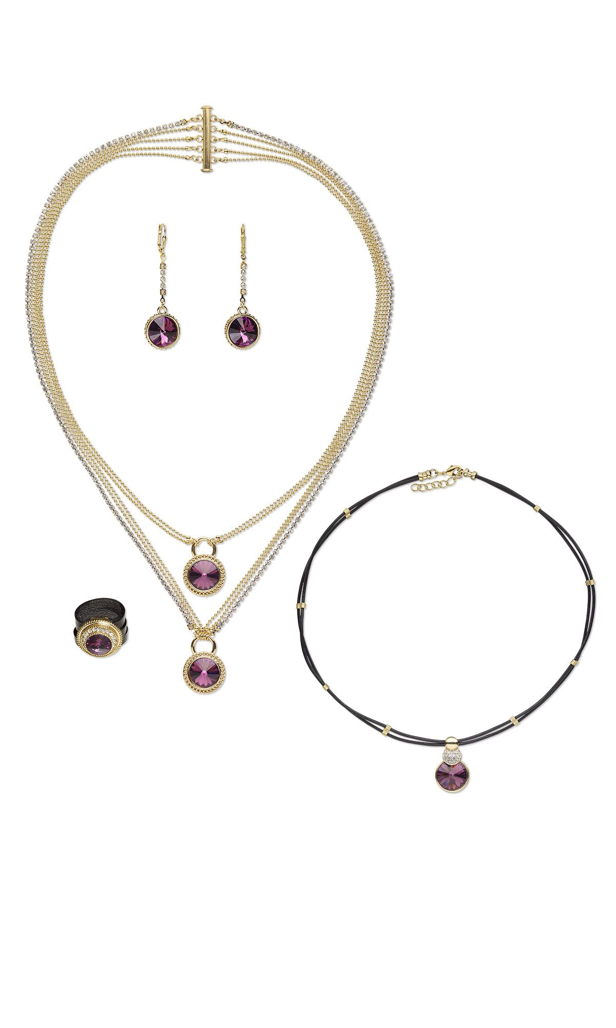 Jewelry design twopiece necklace earring and ring set with