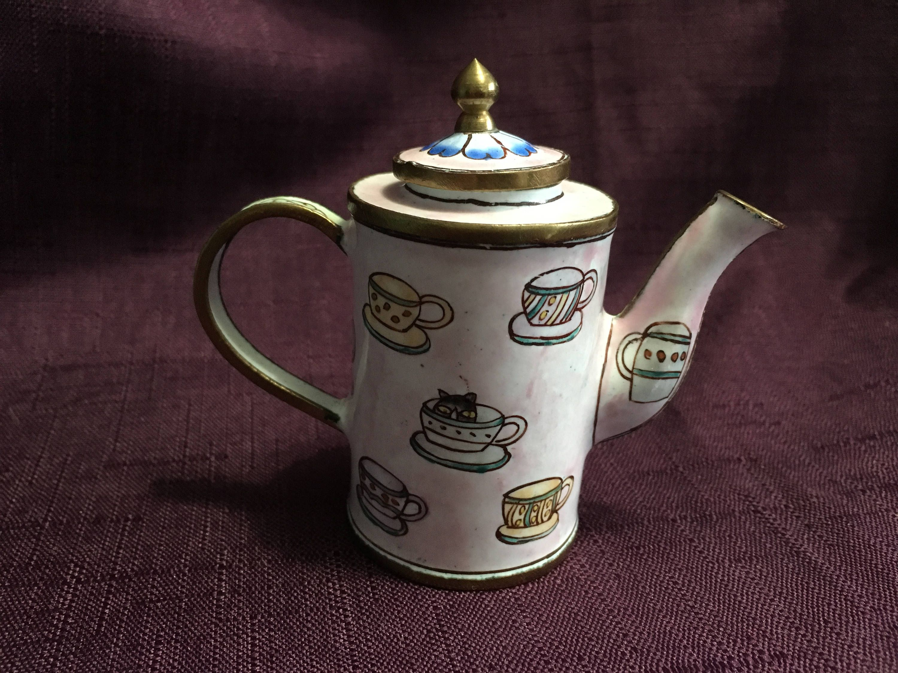 Miniature Cloisonné Coffee Pot Pink Cloisonne Tea Pot