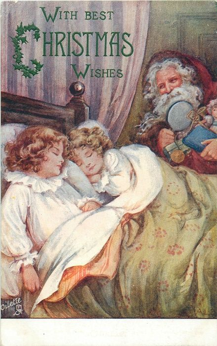 WITH BEST CHRISTMAS WISHES  two girls asleep in bed, purple suited santa with toys back right