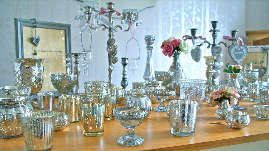Beautiful Mercury Glass Votives Tealights Vases Candlesticks And