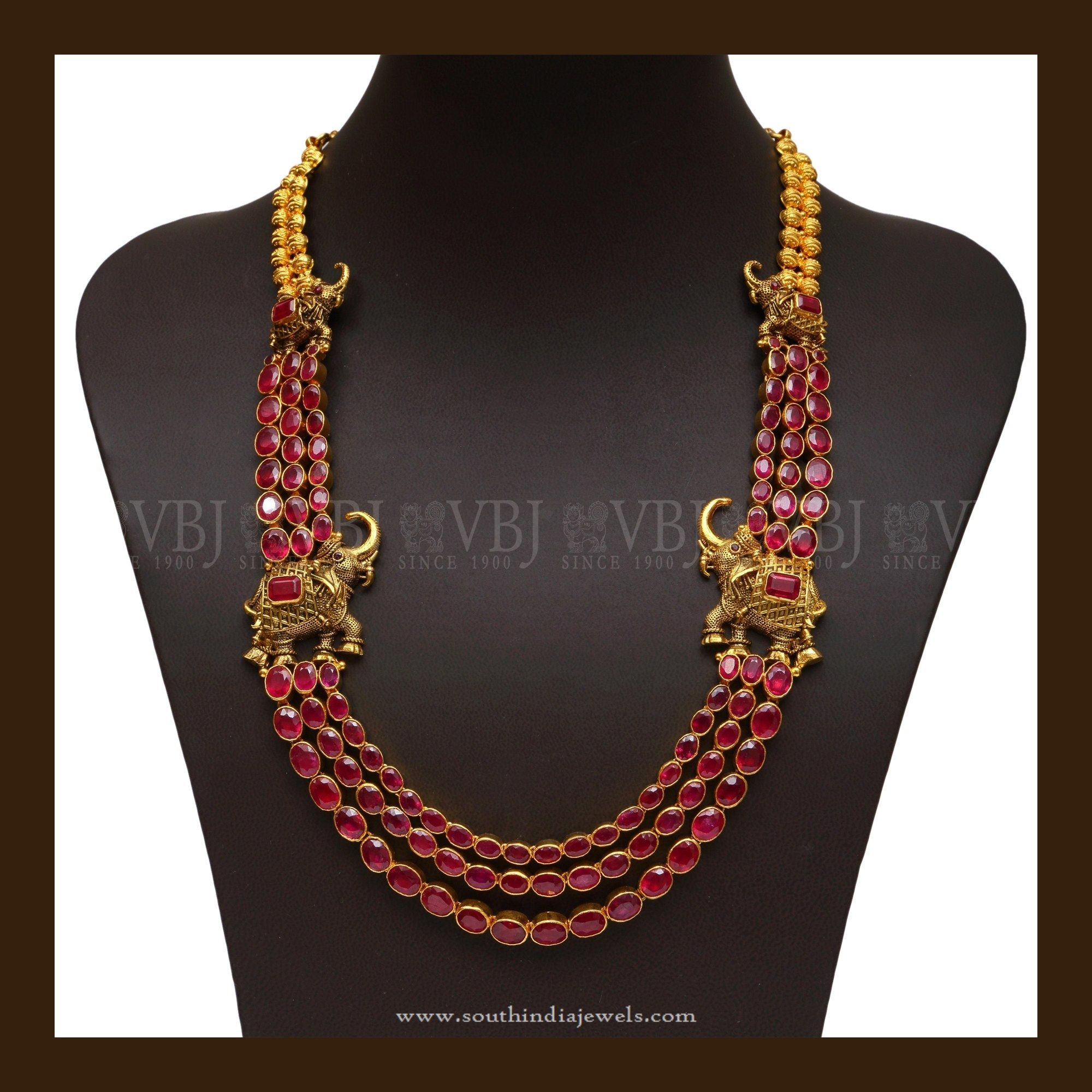 South Indian Style Antique Ruby Necklace Gold jewellery Jewel and