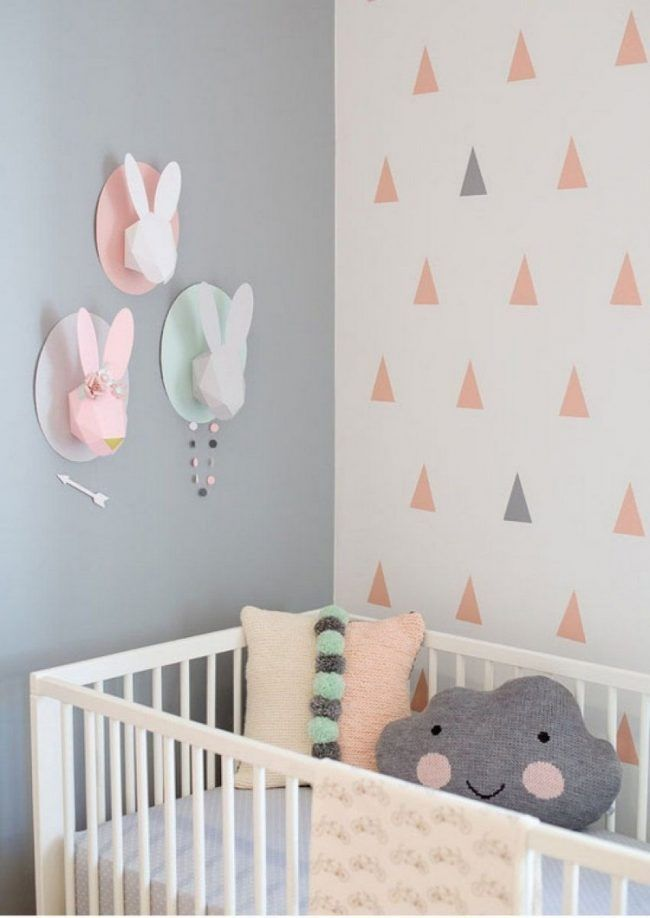 Wand Streichen Muster Ideen Babyzimmer Graue Wandfarbe Rosa Dreiecke