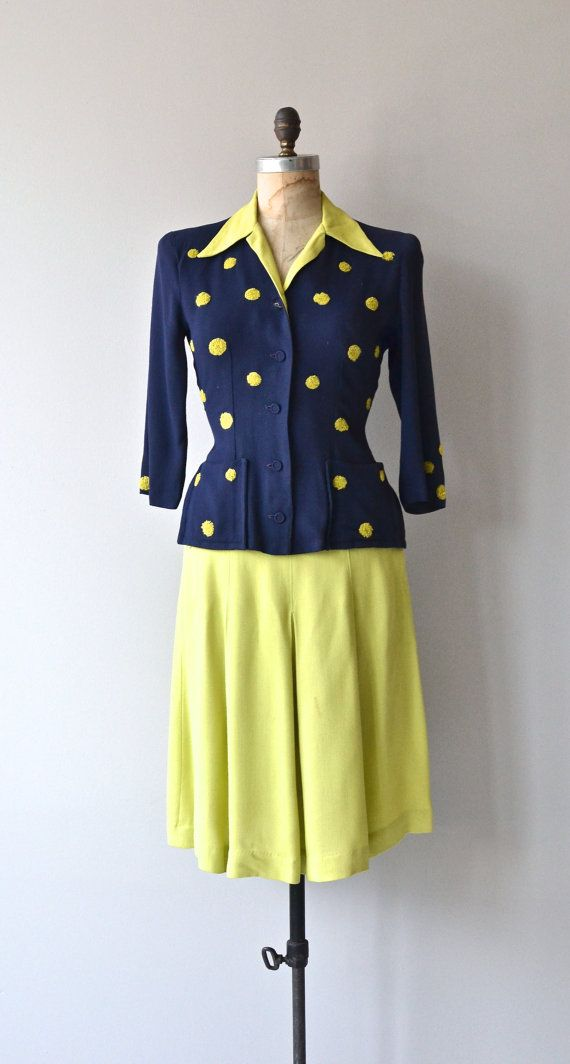 Variety Hour Dress 1940s Dress Vintage 40s Jacket And Skirt