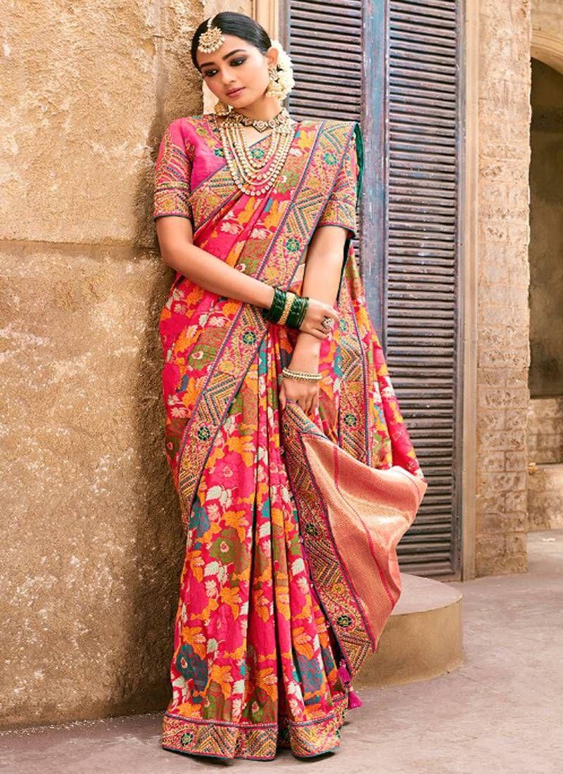 4611126189c0a2 Pink woven banarasi saree with blouse in 2019 | Wedding Sarees ...