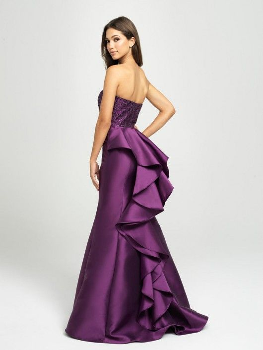 b91b56122ce Madison James 19-118 Ruffled Back Satin Prom Gown in 2019