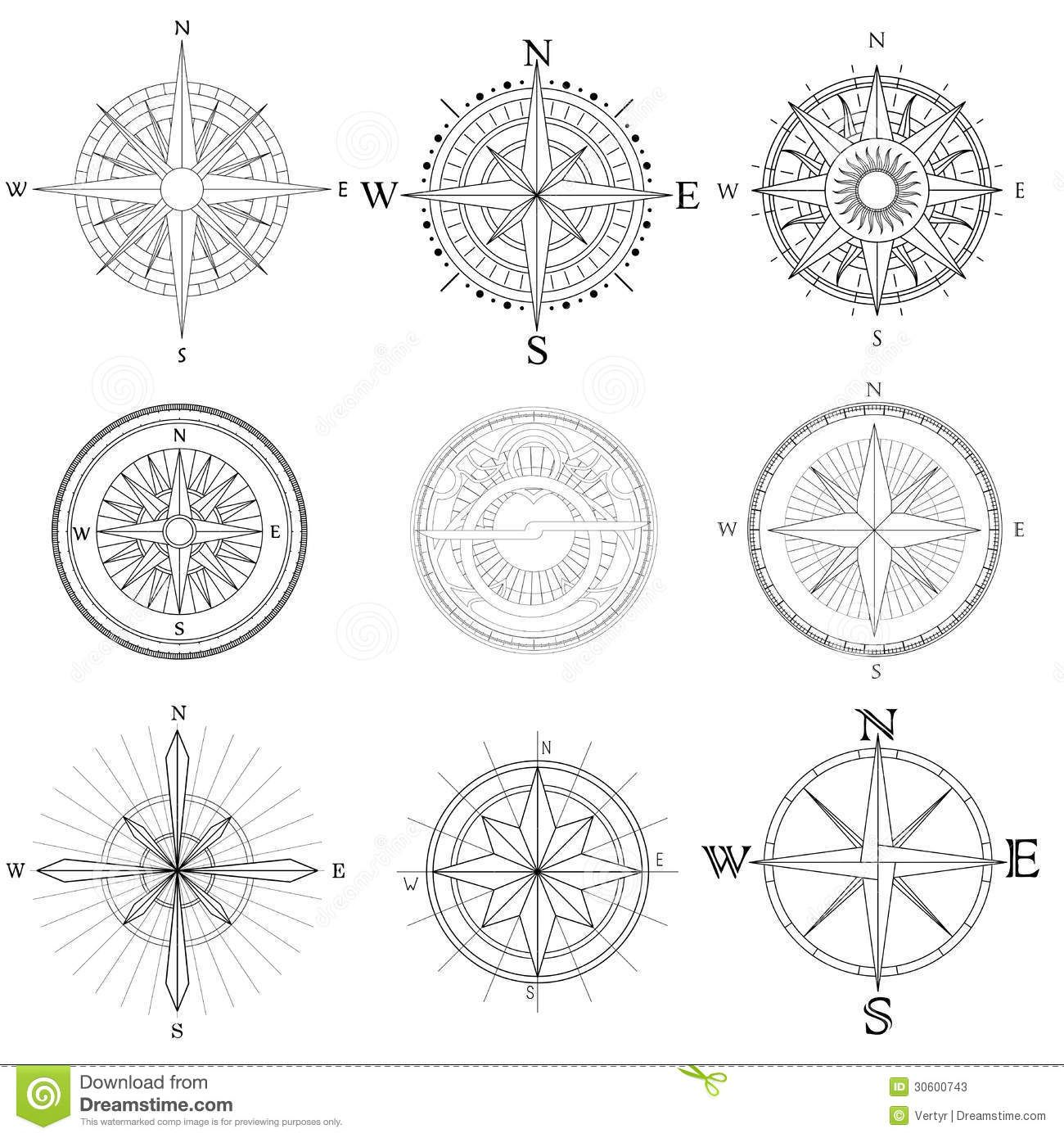 Set Illustration Of Artistic Compass. Download From Over